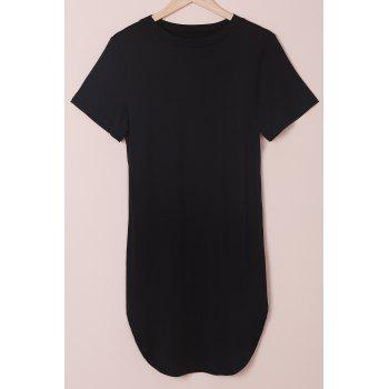 Stylish Round Neck Short Sleeve Plus Size Slit Women's Dress - BLACK BLACK
