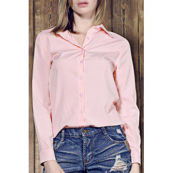 Simple Long Sleeve Shirt Collar Pure Color Women's Shirt