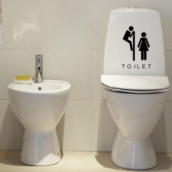 Stylish Male and Female Pattern Toilet Sticker For Bathroom Restroom Decoration - BLACK