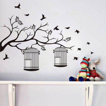 Stylish Branch and Birdcage Pattern Wall Sticker For Bedroom Livingroom Decoration