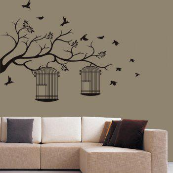 Stylish Branch and Birdcage Pattern Wall Sticker For Bedroom Livingroom Decoration - BLACK