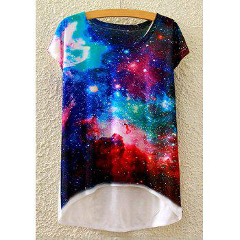 Stylish Round Neck Short Sleeve Galaxy Print High-Low Hem Women's T-Shirt