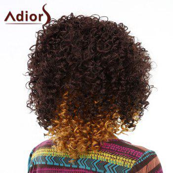 Fluffy Afro Curly Synthetic Trendy Medium Deep Brown Ombre Wig For Women - OMBRE 2