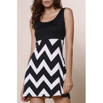 Stylish Women's Scoop Neck Sleeveless Zig Zag A-Line Dress