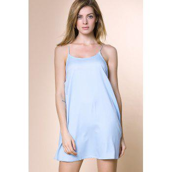 Charming Women's Strappy Blue Cross Back Dress - LIGHT BLUE XL