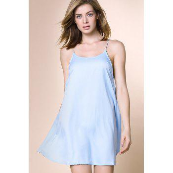 Charming Women's Strappy Blue Cross Back Dress - LIGHT BLUE S