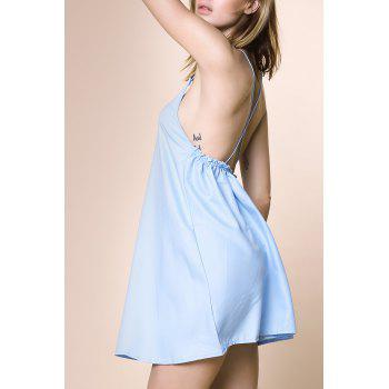 Charming Women's Strappy Blue Cross Back Dress