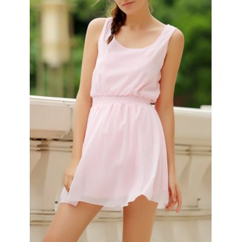 Simple Square Neck Sleeveless Solid Color Waist Drawstring Women's Dress