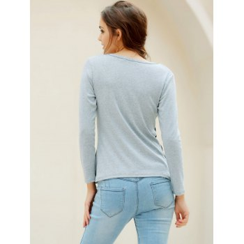 Casual Women's Scoop Neck Long Sleeves T-Shirt - GRAY M