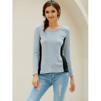 Casual Women's Scoop Neck Long Sleeves T-Shirt - GRAY GRAY