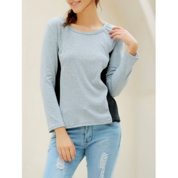 Casual Women's Scoop Neck Long Sleeves T-Shirt - GRAY XL