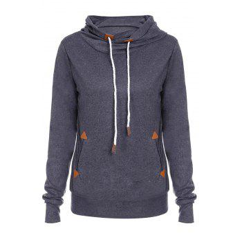 Stylish Hooded Long Sleeve Spliced Draped Women's Hoodie