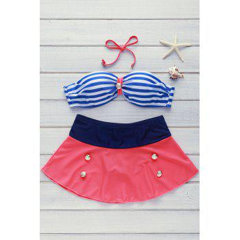 High Waisted Buttons Decoration Stripe Swimsuit