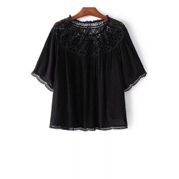 Trendy 3/4 Sleeve Lacing Spliced Hollow Out T-Shirt For Women
