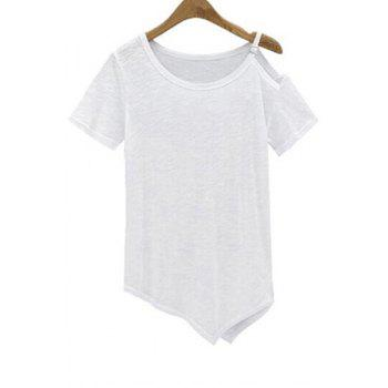 Stylish Scoop Neck Short Sleeve Irregular Hem Women's T-Shirt