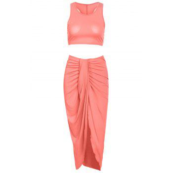 Stylish Sleeveless Crop Top and Solid Color Skirt Women's Suit