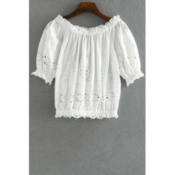Trendy Half Sleeve Embroidery Hollow Out Cropped T-Shirt For Women