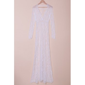 Trendy Women's Plunging Neckline Long Sleeve Lace Mermaid Dress
