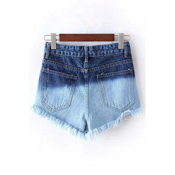 Stylish Color Block Denim Rivet Women's Shorts - BLUE M