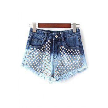 Stylish Color Block Denim Rivet Women's Shorts