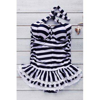 One Piece Halter Striped Skirted Swimwear