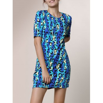 Sexy Round Neck Leopard Print Short Sleeve Dress For Women
