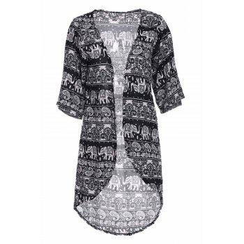 Stylish Colllarless Long Sleeve Ethnic Pattern Print Women' Blouse