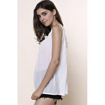Stylish V-Neck Sleeveless Hollow Out Laciness Women's Tank Top - WHITE WHITE