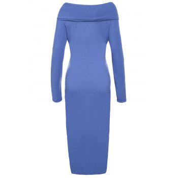 Sexy Off-The-Shoulder Long Sleeve Bodycon Solid Color Women's Dress - BLUE S