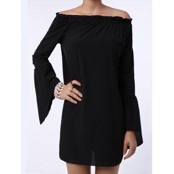 Sexy Off The Shoulder Solid Color Flared Sleeve Dress For Women - BLACK S