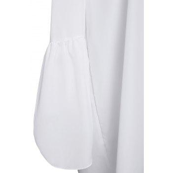 Sexy Off The Shoulder Solid Color Flared Sleeve Dress For Women - WHITE WHITE