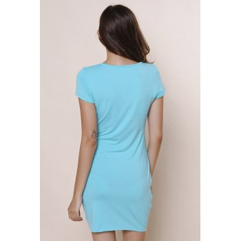 Stylish Solid Color Short Sleeve U-Neck Women's Bodycon Dress - BLUE M
