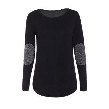 Graceful Jewel Neck Sequin Splicing Long Sleeve Blouse For Women - BLACK M