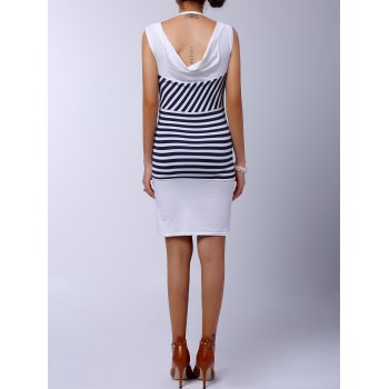 Casual Scoop Collar Sleeveless Anchor Pattern Striped Women's Dress - WHITE WHITE