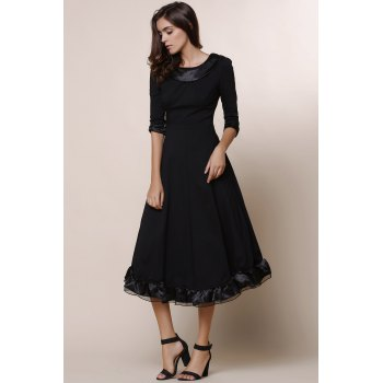 Vintage Solid Color Round Collar Flounced 3/4 Sleeve Dress For Women - BLACK 2XL