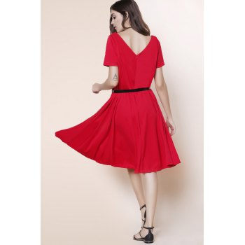 Stunning V-Neck Pure Color High Waist Ball Flare Dress For Women - RED XL
