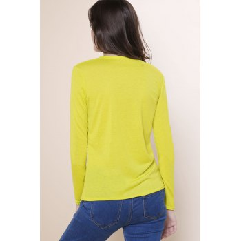 Sexy Women's Plunging Neckline Solid Color Long Sleeves T-Shirt - YELLOW L