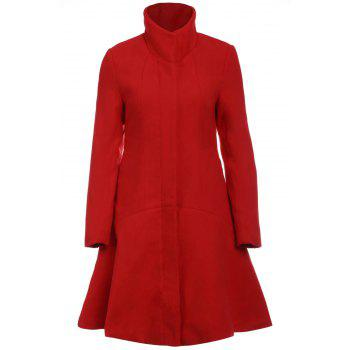 Stylish Stand-Up Collar Long Sleeve Solid Color Flounced Women's Coat