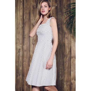 Retro Style Square Neck Sleeveless Polka Dot Women's Dress - WHITE S
