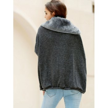 Fashionable Turtle Neck With Fur Loose-Fitting Batwing Sleeve Sweater For Women - DEEP GRAY ONE SIZE