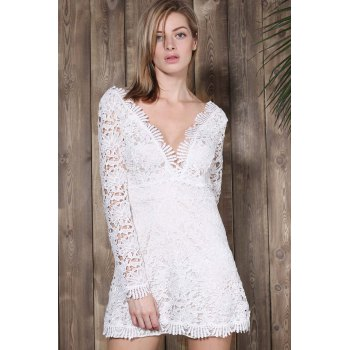 Cut Out Plunging Neck Long Sleeve Lace Dress - WHITE L