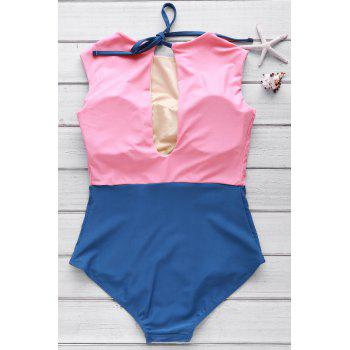 Hit Color Cute High Neck Swimsuit - WATERMELON RED XL