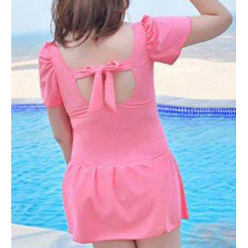 Fashionable Plus Size Cut Out Floral Print One Piece Women's Swimwear - LIGHT PINK 4XL