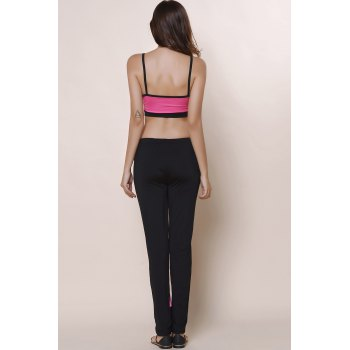 Active Color Block Spaghetti Strap Crop Top and Pants Twinset For Women - BLACK/PINK S