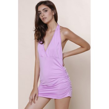 Halter Sleeveless Solid Color Backless Ruched Tank Top - LIGHT PURPLE XL