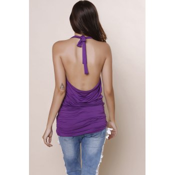 Halter Sleeveless Solid Color Backless Ruched Tank Top - DEEP PURPLE L