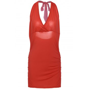 Halter Sleeveless Solid Color Backless Ruched Tank Top - RED M