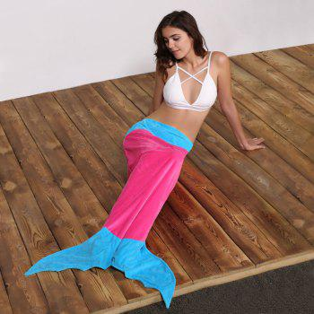 Creative Color Block Mermaid Design Blanket For Kids - PINK