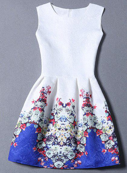 Chic Floral Print Round Collar Zippered Sleeveless Dress For Women