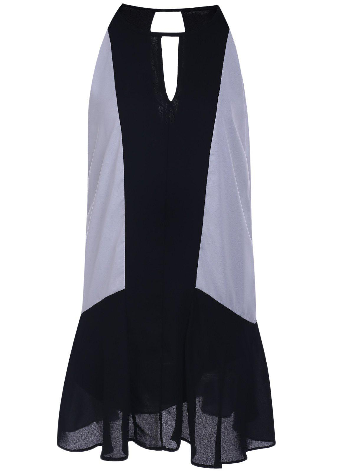 Trendy Sleeveless Black and White Spliced Chiffon Dress For Women - WHITE/BLACK L
